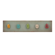 Elements Wood 5-Knob/Keyhole Wall Hook, 70cm -by-15cm , Blue