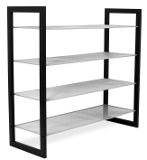 Internet's Best Mesh Shoe Rack | 4-Tier | Free Standing Metal Wood Shoe Organiser | Closet and Entryway | Fits 16 Pairs of Shoes | Black & Silver