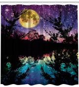 Fabric Shower Curtain Nature Artwork Decor by Ambesonne, Lake at Moon Light Stars Sky and Trees Water Reflection Contemporary Modern Theme, Purple Yellow Fuchsia Black Teal Blue Dark Colours