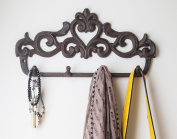 """Decorative Cast Iron Wall Hook Rack - Vintage Design Hanger with 4 Hooks - For Coats, Hats, Keys, Towels, Clothes, Aprons etc 