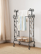 Kings Brand Black Metal With Gold Leaf Free Standing Towel Rack Stand with Shelf