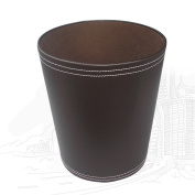 KINGFOM Classic Pu Leather Trash Cans, Creative Waste Paper Basket, Storage Bin for , Home and High Class Hotel