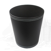 KINGFOM Classic Leather Trash Cans, Creative Waste Paper Basket, Storage Bin for Office, Home and High Class Hotel