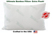 Ultimate Essence Of Bamboo Pillow - Extra Plush Edition - Down Alternative Hypoallergenic Poly Bed Pillows with Bamboo Derived Rayon / Poly Cover - Crafted in the USA