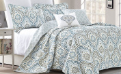 Serenta Tivoli Ikat Design 5 Piece Teal Aqua Printed Prewashed Quilted Coverlet Bed cover Summer Quilt Blanket with Cotton Polyester Filled Embroidery Pillow Set, Queen