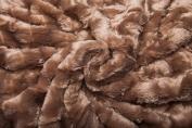 Chanasya Super Soft Fuzzy Fur Elegant Faux Fur Rectangular Embossed Pattern With Fluffy Plush Sherpa Cosy Warm Brown Throw Blanket- Beige Brown