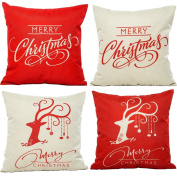 HOSL PSD12 Merry Christmas Cotton Linen Square Decorative Throw Pillow Case Cushion Cover