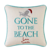 Gone to the Beach, Love Santa Christmas Pillow, 25cm Square