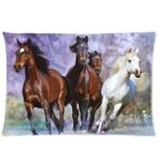 Custom Runnning Horses Purple Background Pattern Pillowcase 2030