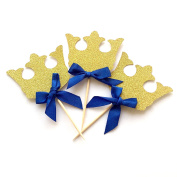 Crown Cupcake Toppers, 12 Pack Crown Boy Birthday Party Cupcake Topper, Royal Prince Baby Shower Decorations, Gold Crown Cupcake Toppers with Blue Bow, King Prince Baby Shower Decorations