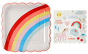 Meri Meri Rainbows and Unicorns Large Plates and Napkins -- Includes 12 Plates and 16 Napkins