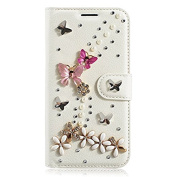 Google Pixel Case,Google Pixel Wallet Case Bling Crystal Rhinestone Butterflies Luxury PU Leather Flip Protective Case Cover with Card Slot Holder and Stand Feature for Google Pixel