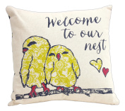Jozie B 25cm Welcome to Our Nest Decorative Throw Pillow