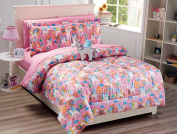 Mk Collection 8 PC Unicorn Pink Purple White Blue Orange Comforter And sheet set With Furry Buddy Included New
