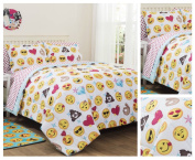 Emoji Girls Complete 7 Piece Reversible Bedding Comforter Set - Queen