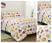 Emoji Girls Complete 7 Piece Reversible Bedding Comforter Set - Full