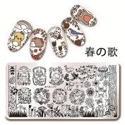 NICOLE DIARY 1Pc 12x6cm Rectangle Stamping Plate Forest Animal Pattern Nail Art Plate