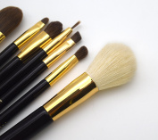 Makeup brushset 7pc metal gold Black soft and silky Vogue 2016