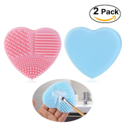 PIXNOR Makeup Brush Cleaner Finger Glove Silicone Cosmetic Clean Tools Pack of 2, Pink Blue