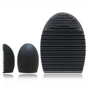 Togirl Cleaners Egg Cleaning Glove MakeUp Washing Brush Scrubber Board Brushegg, Black