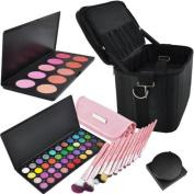 Beauties Factory BF Professional Makeup Artist Eyeshadow Brush Blush Powder Palette Travel Bag Case Set #977
