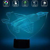 Fighter Jet Plane 3D Optical LED Illusion Lamp, FZAI 7 Colours Flashing USB Powered Touch Switch Bedroom Led Nightlights for Boys Birthday Gifts
