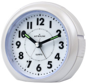 Atrium Alarm Clock Analogue White Without Ticking, With Light & Snooze A240 0