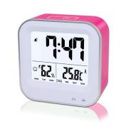 Bedroom 3 in1 Multifunction Alarm Clock, Rechargeable Alarm Clock with 12h or 24h/Temperature(C/F)/Humidity/Week Display, Snooze/Smart Nightlight Function