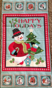 """HAPPY HOLIDAY SNOWMAN"" on Light Blue Cotton Fabric (Great for Quilting, Sewing, Craft Projects, a Quilt, Throw Pillows & More) Panel X1"