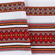"Decorative fabric with Ukrainian ornament Christmas Tamlecloth plahta ethnic red black yellow 200x150 cm / 79""x59"""