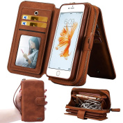 iPhone 7 Case,iPhone 7 Wallet Case,WOOZU Zipper Wallet Purse Type Detachable Magnetic Removable Case Purse Clutch with Makeup Mirror Back Flip Credit Card Holder Cover Case for Apple iPhone 7 12cm