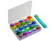 Ceeyali Bobbin Box Sewing Thread Organiser With 25 Colourful Bobbins and Assorted Colours Cotton Thread for Brother Singer Babylock Kenmore Janome etc