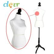 Female Mannequin Dress Form on Black Tripod Wooden Base Size 90cm 70cm 90cm White