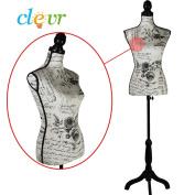 Female Mannequin Dress Form on Black Tripod Wooden Base Size 90cm 70cm 90cm Vintage