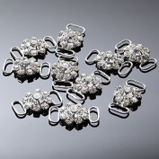 10Pcs Small Crystal Rhinestone Bikini Connectors/ Buckle With 15mm Buttons For Swimming Wear Bikini Decoration CN03