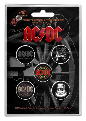 AC/DC 13cm x 2.5cm Button badge pack