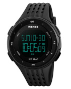 Mens Sports Watch Military 50M Waterproof Digital LED Large Face Wrist Black Watch-Silicone Rubber Band