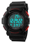 Gosasa Sports Waterproof Digital Fitness Watch Pedometer Multifunction Men's Wristwatches Red