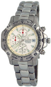 Le Chateau #1830_WHITE Men's Sport Watch Chronograph Pofessional Stainless Steel Band