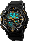Gosasa Men's Outdoor Waterproof Resin Strap Multi-function Dual Time Sports Digital Watch With Double Movt Gold