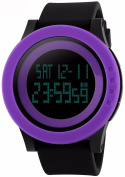 Gosasa Unisex's Big Dial Multifunction 50M Waterproof Black Slicone Strap LCD Digital Sport Watches 1142 Purple