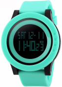 Gosasa Unisex's Big Dial Multifunction 50M Waterproof Light Green Slicone Strap LCD Digital Sport Watches