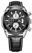 Gosasa Men Military Pilot Multifunction Black Leather Strap Quartz Wrist Watches