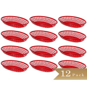 Pack of 12 - Red Fast Food Baskets - 23cm X 15cm