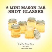 """Smiths Mini Mason Jar set of 6 """"Chupito"""" Shot Glasses with Lids - 60ml Per Shot Glass"""