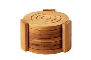 Heavy Duty Bamboo Coaster Set With 7 Coasters and Custom Holder 11cm x 11cm x 2.7