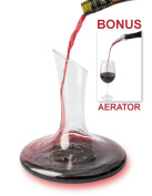 Artisan Wine Decanter + Bonus Wine Aerator ($10 value) Set by Comfify - Superior Wine Carafe, Sculpted Glass Design for Delicious Taste & Aroma, Smooth Pour - Best Wine Enthusiast Gift