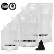 (5) Black & White Label Premium Plastic Flasks Liquor Rum Runner Flask Cruise Kit Sneak Alcohol Drink Wine Pouch Bag Set Heavy Duty Concealable Flasks For Booze