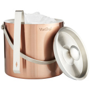 VonShef 3 L Copper Double Walled Insulated Stainless Steel Ice Bucket with Lid, Carry Handle & Tongs