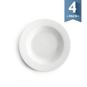 Sweese 1202 Porcelain Rim Soup Bowls - 20cm for Pasta, Salad and Soup, Plaid Pattern - Set of 4, White